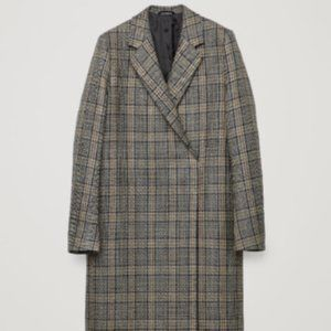 COS Wool Plaid Coat Trench Jacket Checkered Size 2